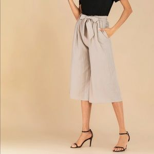 Pants - Linen Wide Leg Crop Pants